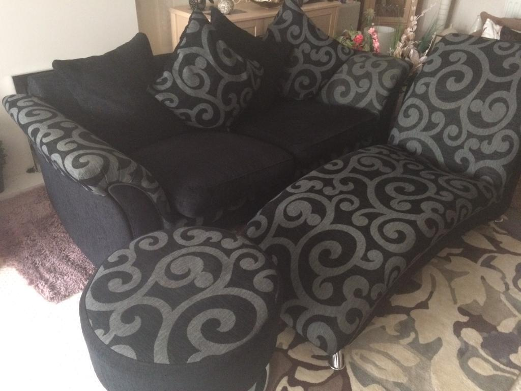 3 seater Settee, with chaise and foot stall