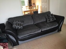2 & 3 seater black and grey sofas with 4 matching cushions