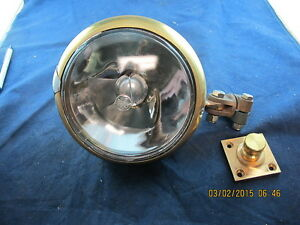 "6"" Brass Searchlight Decklight Spotlight Military New 24 Volt Changeable Bulb"