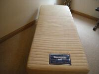 Dunlopillo narrow, long, latex single mattress with single metal bed frame