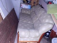 3 SEATER/2 SEATER & 1 FABRIC SOFA WITH CUSHIONS