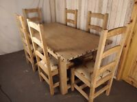 A Solid Pine Lindale Farmhouse Table And 6 Chairs ~FREE DELIVERY~