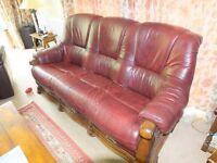 Three Seater Leather Burgandy Brown Sofa