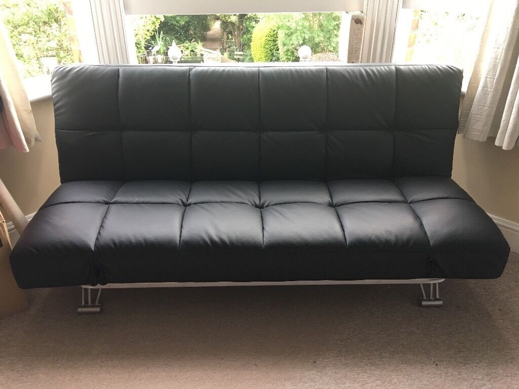 Camden Black Faux Leather Clic Clac Sofa Bed Nearly Newin Kilburn, LondonGumtree - The Camden black faux leather clic clac sofa bed boasts all the characteristics of a high end sofa bed, at just a fraction of the price. Featuring a lovely soft touch black faux leather finish, deep padding for ultimate comfort and brush metal legs...