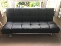 Manhattan Black Faux Leather Clic-Clac Sofa Bed Nearly New