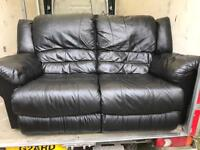 2 black leather recliner 2 seater sofas