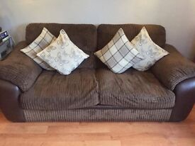 NOW £80 2 + 3 seater brown corded DFS sofa couch
