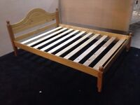 pine double bed with mattress good condition