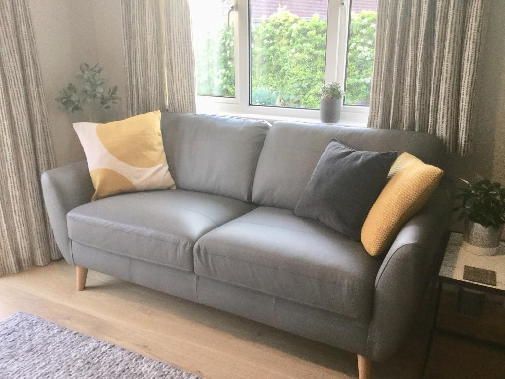 French Grey Leather Sofa In Brighton East Sussex Gumtree