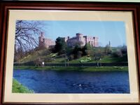 large framed photograph of Inverness Castle. 30 by 38 inches.