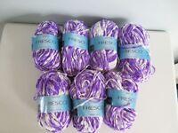 Sirdar Fresco Fashion Knitting Yarn Lot of 7 x 50g Balls - 0802 Tahiti Purple