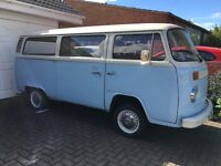 VW t2 AIRCOOLED CAMPERVAN blue and cream 2000cc engine twin carbs