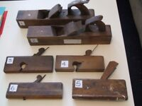 Six antique wooden planes. Two 17ins. Four 9ins. Various profiles.