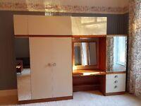 Large Retro Teak veneer bedroom furniture 1960 s style Wardrobe unit