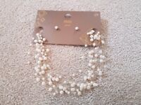 Ladies Pearl Necklace ann Earings