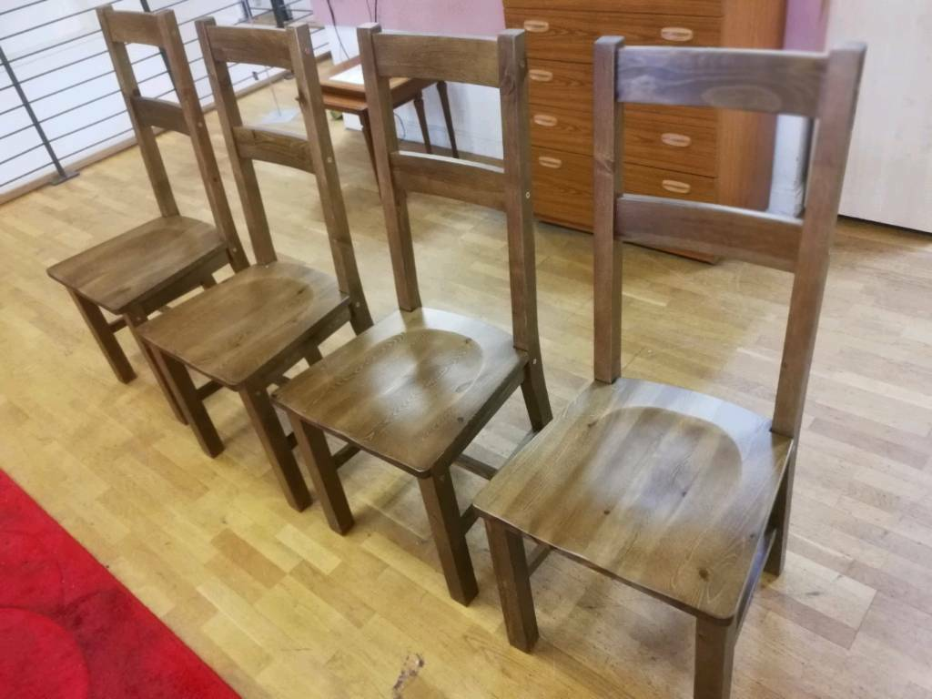 4 x Solid wooden dining chairs (not used)