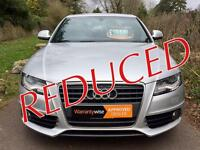 REDUCED........09 AUDI A4 2.0 TDI S LINE 4dr + WARRANTY + ONLY 2 OWNERS