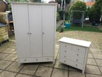Cupboard and Chest of Drawers Set Bedroom Furniture White