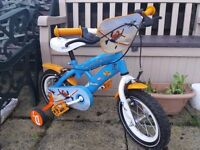 Boys bike bicycle disney planes and helmet good condition