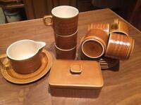 Vintage Retro Hornsea England Saffron Tea Cup Set With Butter Dish And Gravy Boat