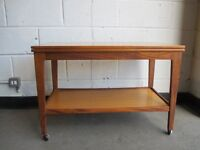 VINTAGE TEAK TEA TROLLEY TEA TABLE BY REMPLOY EXTENDING FLIP AND TURN TABLE TOP FREE DELIVERY