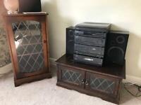 Dark Wood Hi-Fi or Drinks Cabinet & TV Cabinet