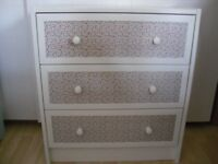 UPCYCLED IKEA PINE CHEST OF DRAWERS, FLORAL PATTERN ON DRAWERS