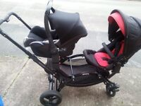 tandem style double buggy obaby zoom