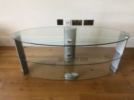 """TV Glass Oval Stand ( JOHN LEWIS ) SUITABLE For Up to 60"""" TV"""
