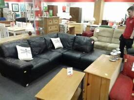 Corner suite 5 seater black leather (BHF glasgow)