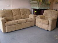 G Plan Chloe 2 Piece Suite in Brown Fabric. 3 Seater Sofa Settee and Armchair. PERFECT CONDITION