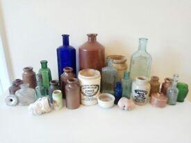 A collection of antique bottles, jars, inkwells, ceramics, including vintage Henderson's Relish