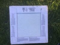 5 boxes of white floor tiles 33cm square,new boxed, left over