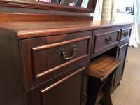 Solid wood chest of drawers with stool and mirror
