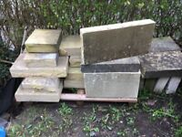 22ft of Bath Stone Ashlar Blocks 4 inch by 12 inch. Assorted other blocks.