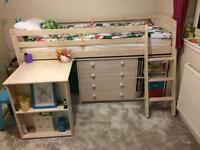 Whitewashed Pine Mid Sleeper Bed