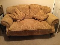 2x2 seat sofa,matching stool.chair and stool. Traditional design and fabric,excellent condition