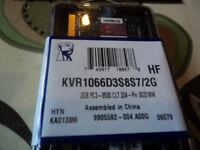 2 Kingston Memory RAM.Brand New KVR1066D3S8S7/2G 2GB.