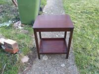 small wooden oak table with shelf