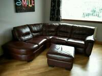 Leather corner suite with footstool