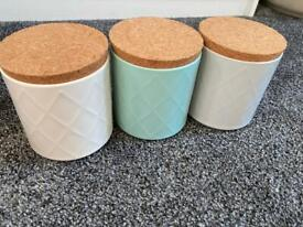 Set of three kitchen canisters