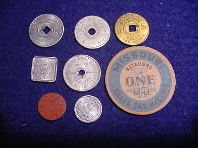 Vintage Tax Token Lot Missouri Oklahoma New Mexico Washington OPA WWII  8 Pcs