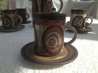 Briglin Pottery handmade coffee set: coffee pot, creamer, sugar bowl, and 6 cups & saucers