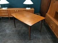 Extending Dining Table in African Teak by Richard Hornby. Retro Vintage Mid Century. Danish Style