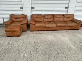 Dfs tan aniline ranch leather sofa set premium quality free delivery local