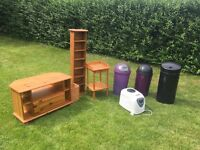 Antique Pine Furniture, Bins, TV Stand, Bread Maker, T/phone Table
