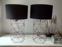 A pair of smart black lamps .