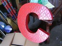 LARGE METAL ALPHABET LETTERS $50.00 EA. VARIOUS COLORS !!