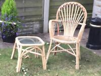 Cane garden chair and side table