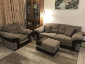 3 seater Heath sofa+ arm chair + storage footstool